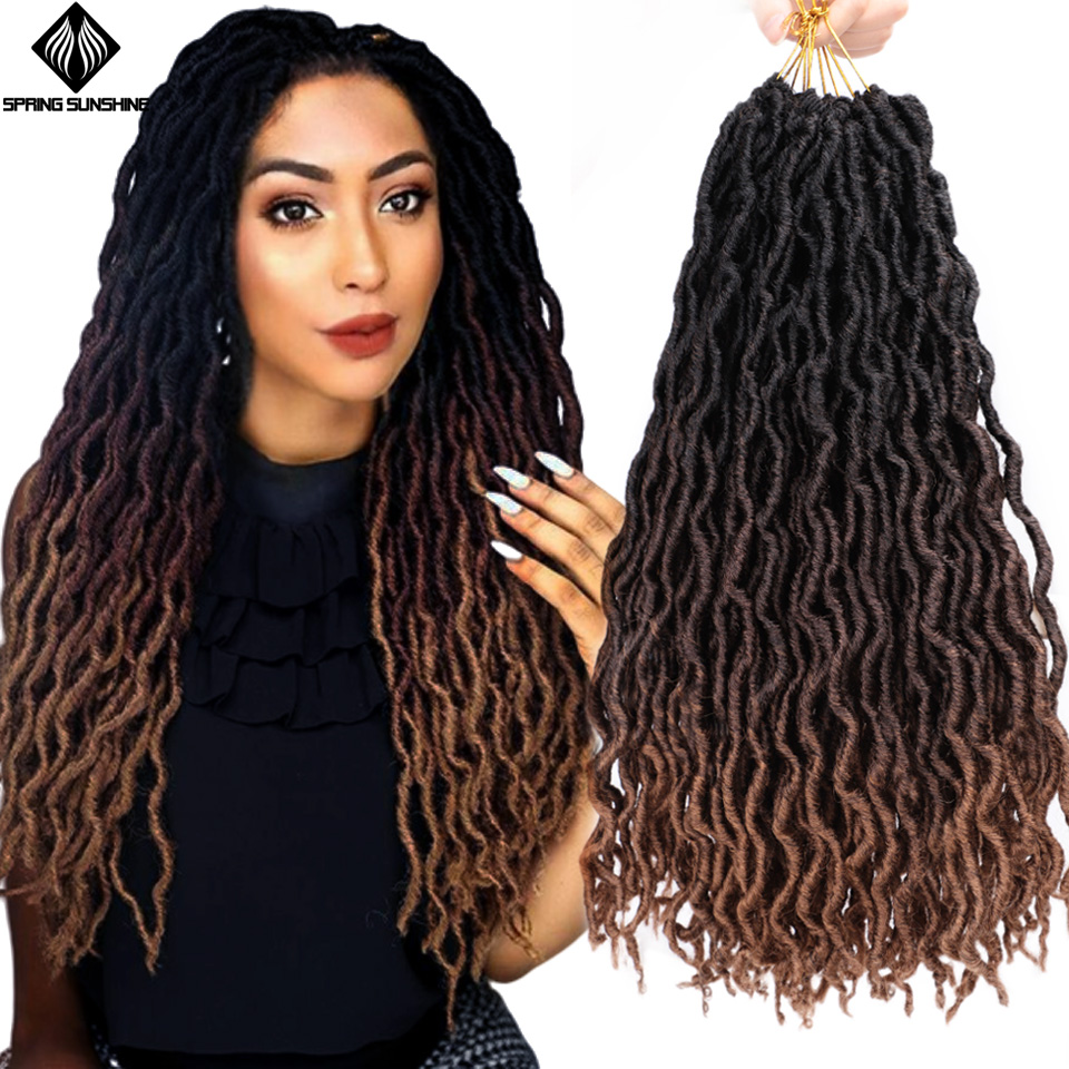 12 18inch Nu Locs Goddess Faux Locs Curly Ombre Braiding Hair Soft Braids Synthetic Crochet Braid Hair Exntension