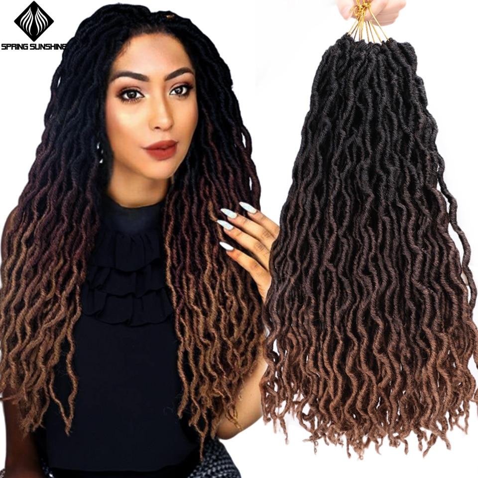 12 18inch Nu Locs Goddess Faux Locs Curly Ombre Braiding Hair Soft Braids Synthetic Crochet Braid Hair Exntension