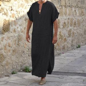 Image 3 - Incerun男性ローブカフタンイスラム教徒アラブイスラムvネック半袖固体cottonthobeヴィンテージ部屋着プラスサイズアラビア男アバヤ