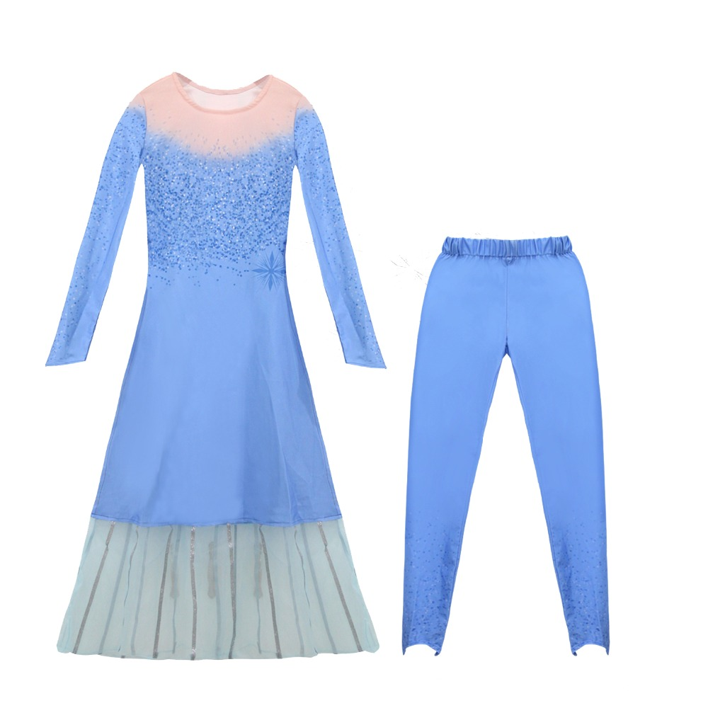 H762c19e5053b4e6888fb210102b0fed6m 4-10T Fancy Princess Dress Baby Girl Clothes Kids Halloween Party Cosplay Costume Children Elsa Anna Dress vestidos infantil
