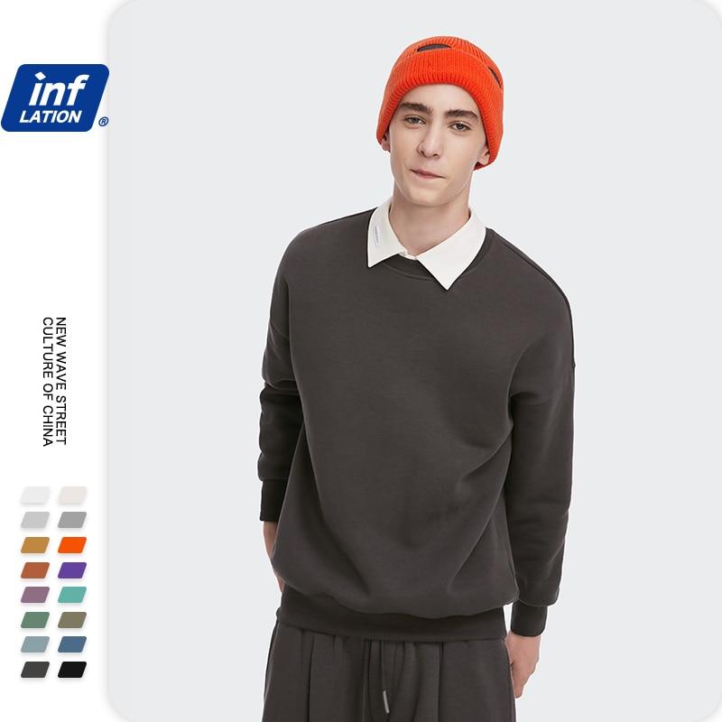INFLATION Winter Mens Hip Hop Multi-colour Hoodies Velvet Fabrics Fleece Sweatshirts 8 Solid Color Winter Men Sweatshirts 166W17 22