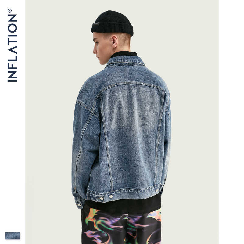 INFLATION otoño para hombre chaqueta de mezclilla de moda para hombre bombardero chaqueta de mezclilla delgada rasgada chaqueta de mezclilla para hombre chaquetas de vaqueros de corte holgado 9718W