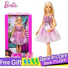 Boneca barbie original, acessório de moda, boneca de feliz aniversário, brinquedo para crianças, menina, brinquedos para meninas