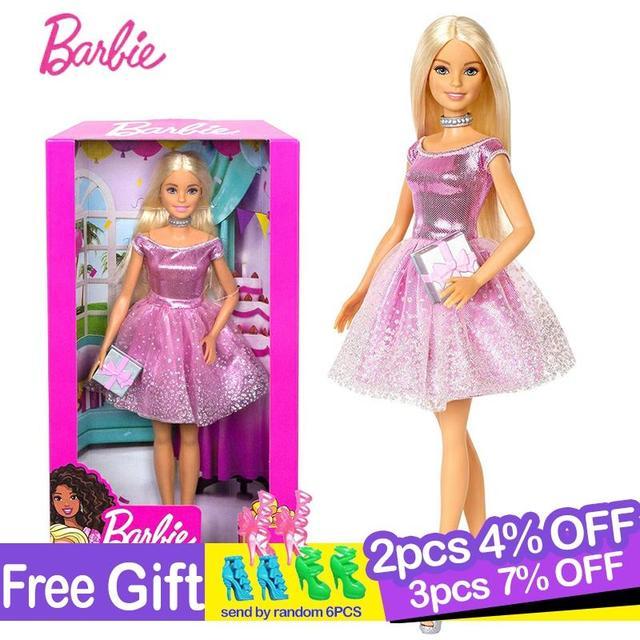 バービーオリジナルブランド人形ハッピー誕生日のファッションアクセサリー子供のためのきらめきガールおもちゃboneca女の子brinquedosギフト