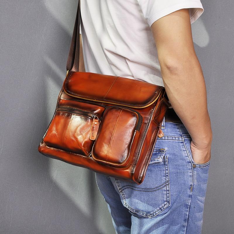 Couro masculino designer casual ombro mensageiro bolsa