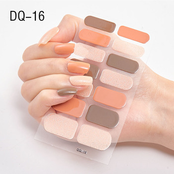 14pcs/sheet Glitter Gradient Color Nail Stickers Nail Wraps Full Cover Nail Polish Sticker DIY Self-Adhesive Nail Art Decoration 113