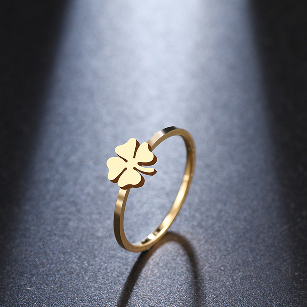 DOTIFI For Women Clover Pattern Ring New 316L Stainless Steel Girls Luxury Party / Wedding Jewelry R315(China)