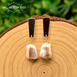 Image 2 - GLSEEVO Geometric 100% Genuine Fresh Water White Pearl Drop Earring Minimalism Luxury Pendientes Mujer Fine Jewelry GE0820