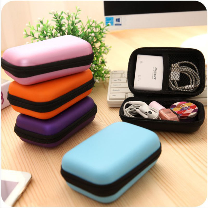 Cosmetic Bags Hard Nylon Carry Bag 6 Colors Compartments Case Cover Headphone Earphone Jewelry Bag