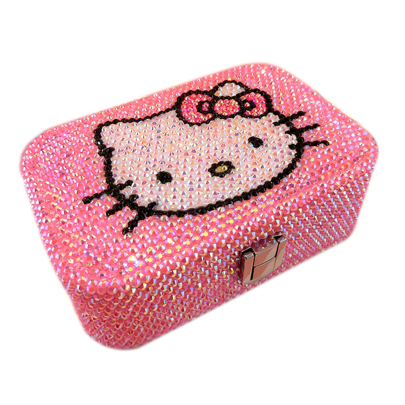 Sac à bijoux fait main en strass mignon KT chat rose boîte de rangement dessin animé organisateur cosmétique maquillage rangement bijoux boîte bureau Table