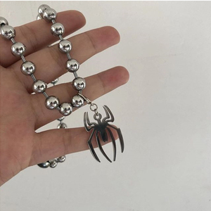 2020 Punk Exquisite Metal Spider Pendant Necklaces Silver Color Steel Ball Chain Short Necklaces Jewelry For Women