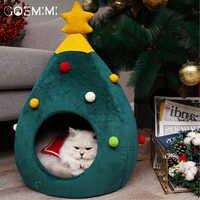 Casa del perro del gato de la mascota perrera cama para dormir de la cueva del cachorro cama de invierno con forma de árbol de Navidad para gatos