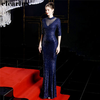 Half Sleeve Mermaid Prom Dress Robe De Soiree Plus Size Elegant Women Party Dress DX244-3 2019 Navy Blue Sequins Evening Dresses