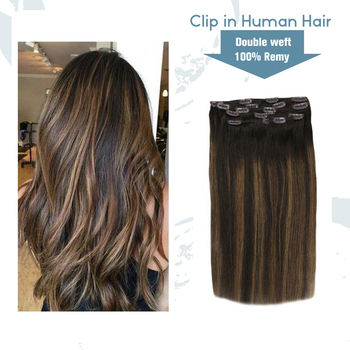 VeSunny Clip on Real Human Hair Extensions Double Weft 7pcs Clip in Extensions Balayage Ombre Brown Highlighted #2/2/6 120gr full shine clip in human hair extensions balayage ombre color 10pcs 100g double weft 100