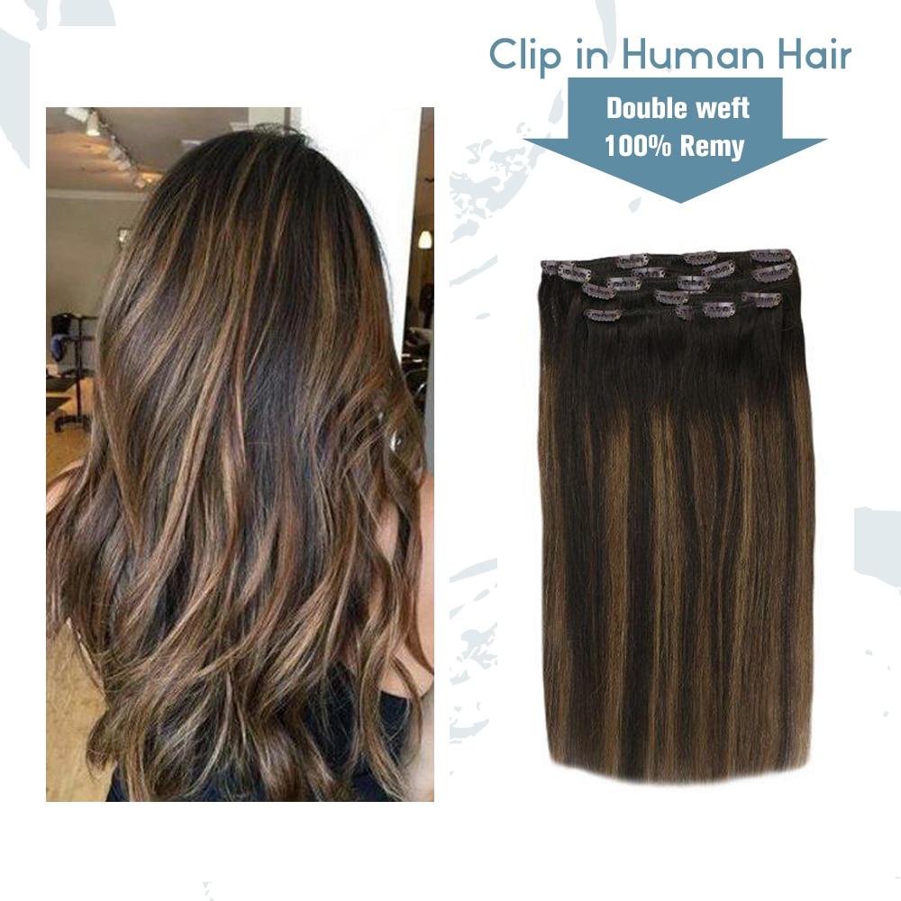 VeSunny klip gerçek insan saçı uzantıları çift atkı 7 adet saç eki Balayage Ombre kahverengi vurgulanan #2/2/6 120gr