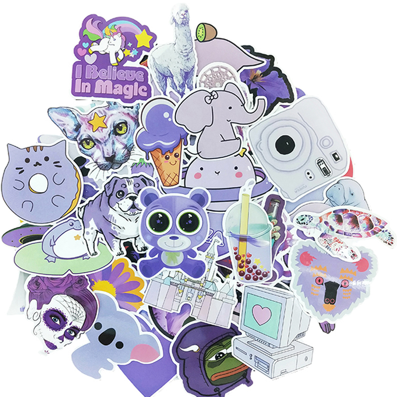 61PCS Purple Doodle Cute Vsco Cool Waterproof Gift Set Sticker DIY Luggage Bicycle Helmet Notebook Skateboard Toy Stickers