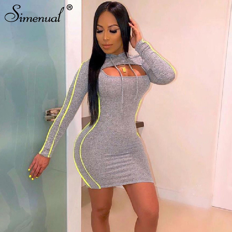 Simenual Athleisure Fashion 2019 Sporty Two Piece Set Women Long Sleeve Crop Top And Dress Matching Set Neon Striped Slim Outfit