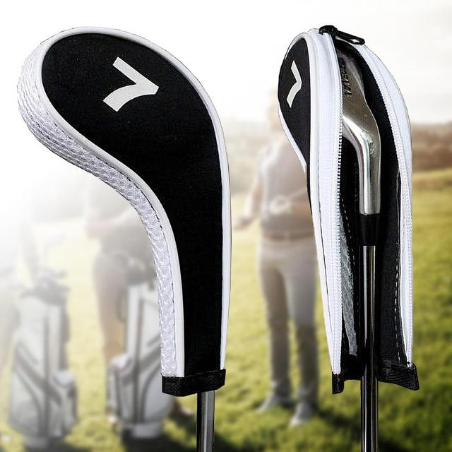 12Pcs Zippered Neoprene Golf Club Iron Cap Set Golf Headcover Protection Case Golf Training Aids Accessories With Number 3