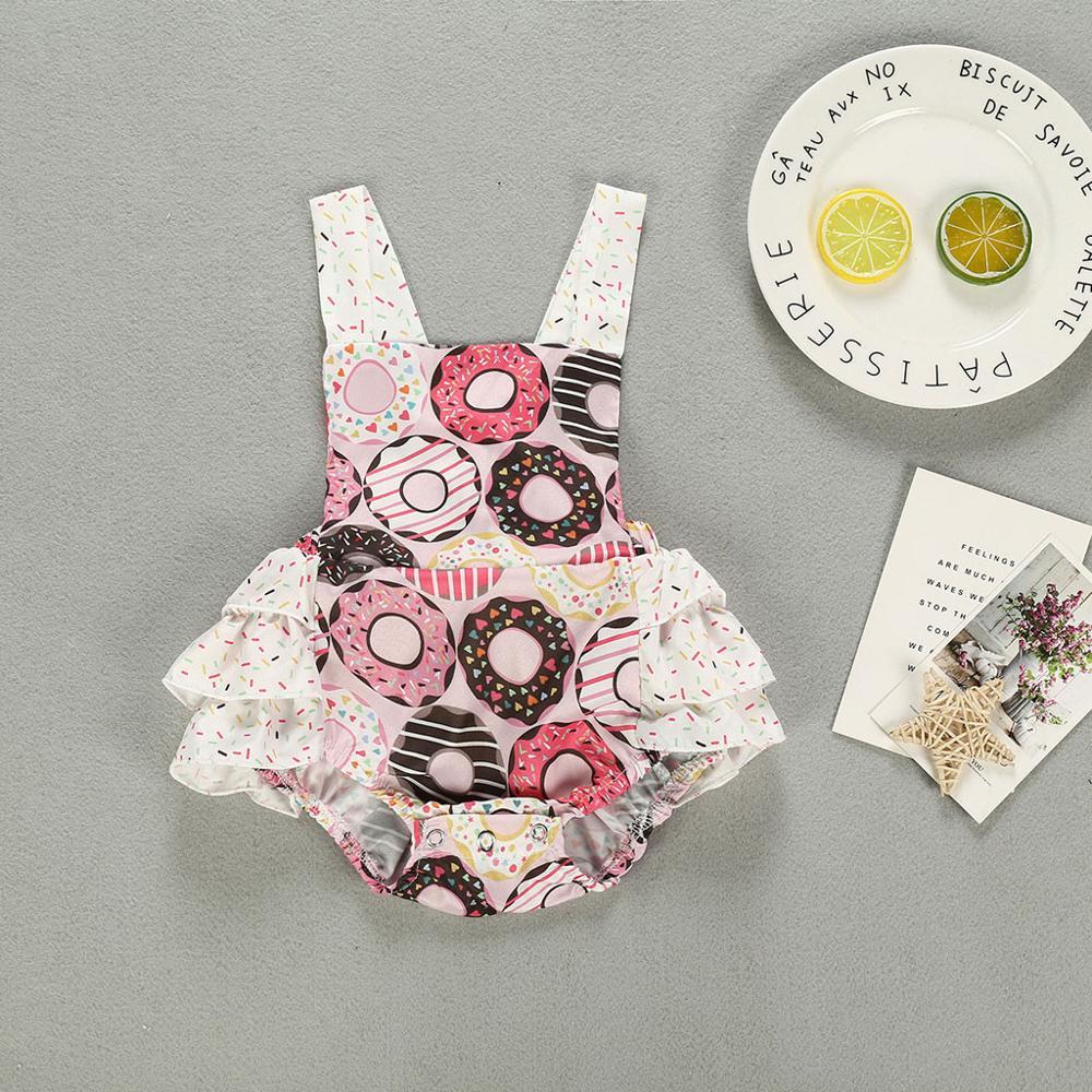 Newborn Infant Baby Girls Summer Bodysuit Ruffle Sleeveless Cute Donuts Print Romper Bodysuit Outfits Baby Girl Clothes RL2