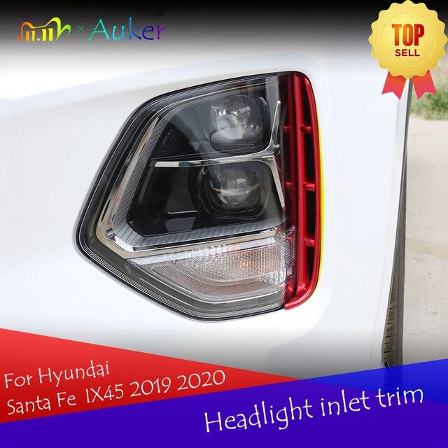 Headlight anti fog Kit headlights air intake trim chrome style exterior accessories for Hyundai Santa Fe Santafe IX45 2019 2020
