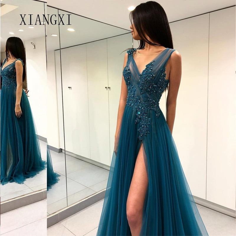 Vestido De Festa Dark Green Evening Dresses Long A-Line V-Neck Backless Floor Length Evening Dress Prom Gowns robe de soiree
