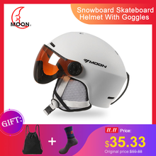 MOON лыжный шлем с очками Интегрированный EPS протектор с полным покрытием для женщин и мужчин лыжный сноуборд шлем лыжный a50
