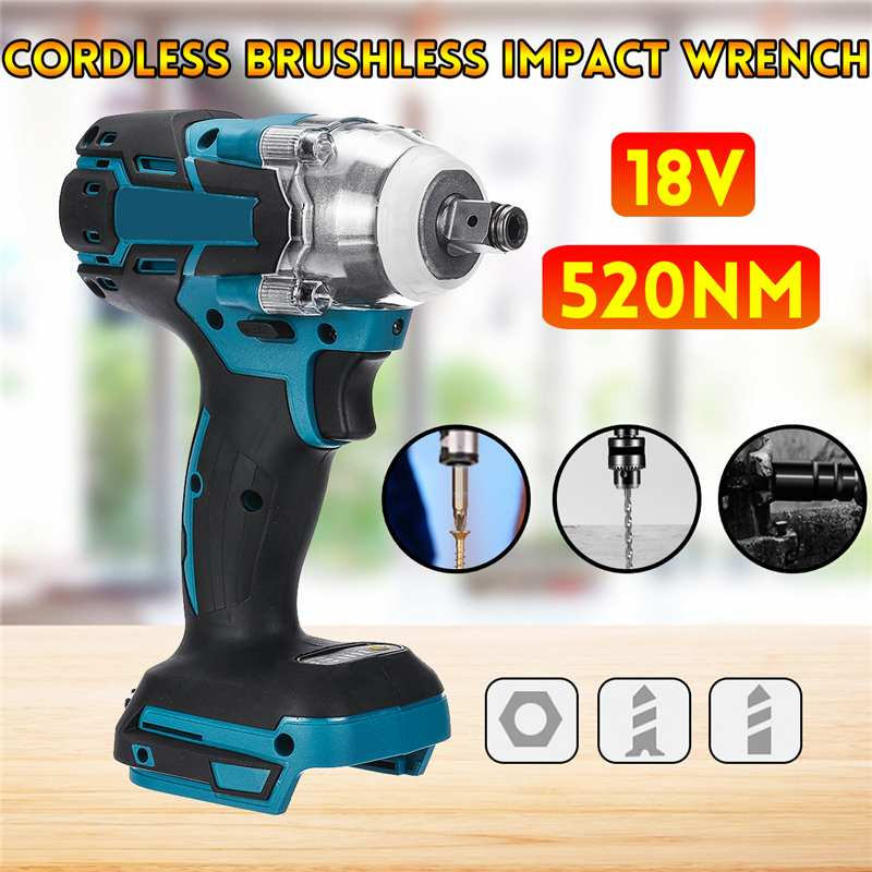 18V 520N.m Cordless Brushless Impact Wrench Stepless Speed Change Switch Adapted To 18V Battery Power Tool For Car Home Repair
