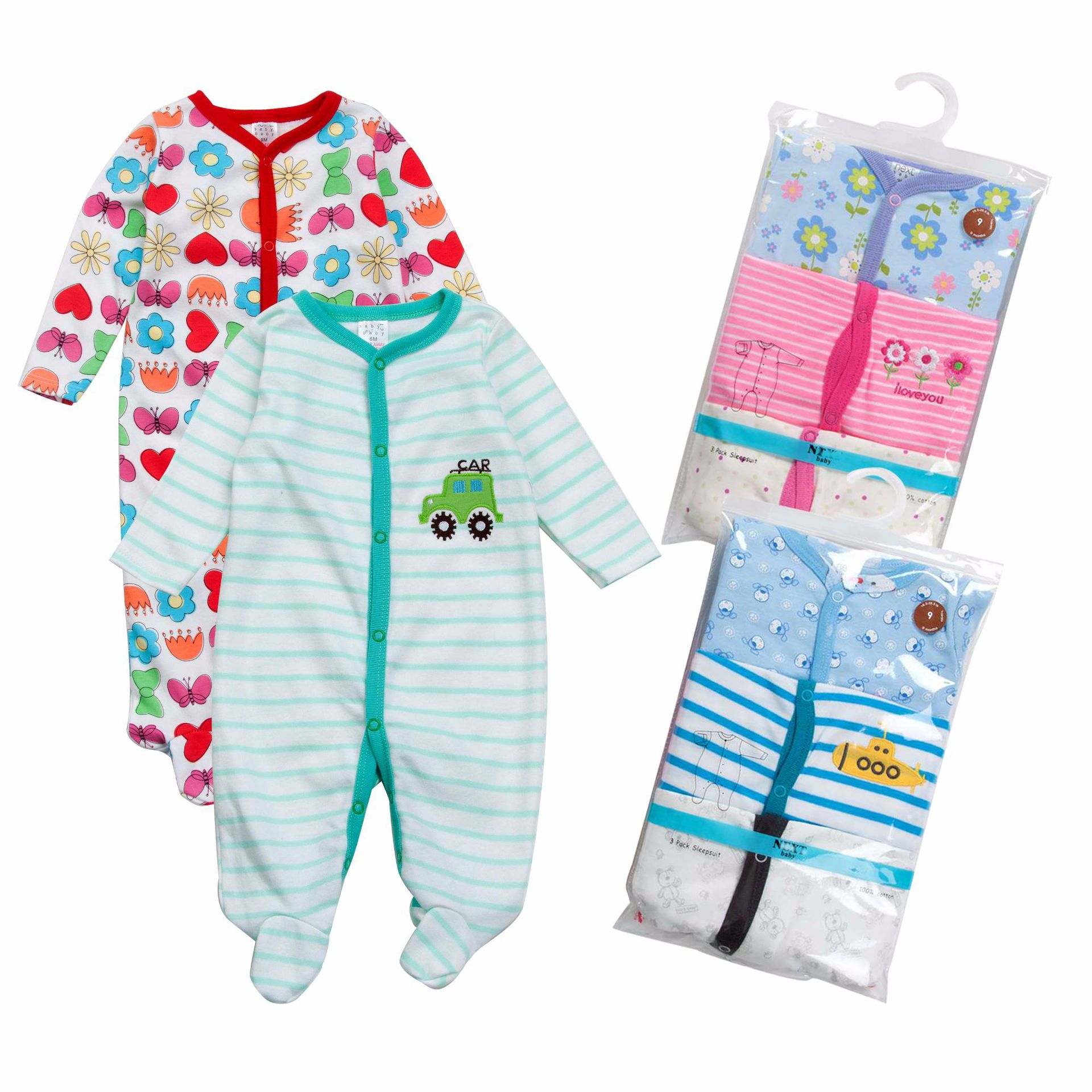 Carter Newborns Foot-closed Crawling Clothes Pure Cotton Romper Baby Onesie Infant Childrenswear Autumn