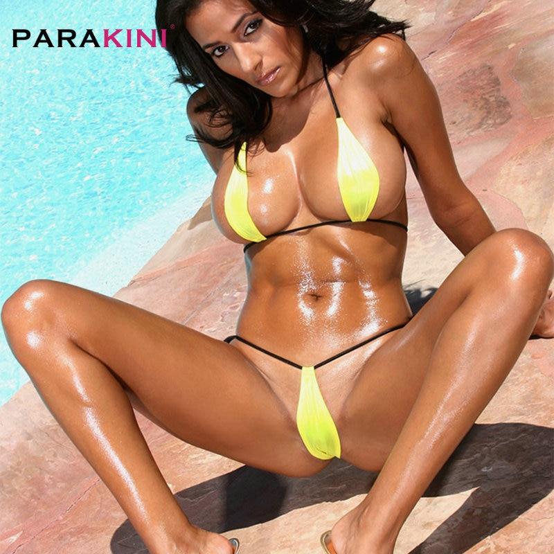 PARAKINI Bandage Mini Micro Bikini Sexy Tiny Swimwear Swimsuit Women Female Halter Bathing Suit Beach Sunbath Yellow Biquini Set