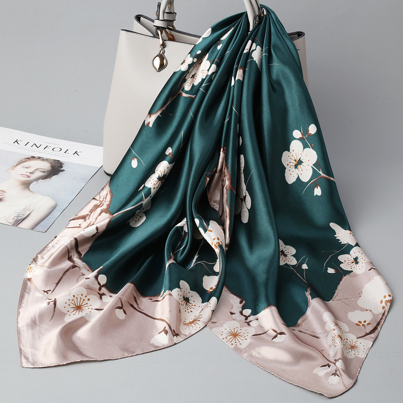 Wild 90*90cm Simulation Silk Square Scarf Women's Thin Print Summer Sun Breathable Silky Trendy Scarf Female 2020 Spring