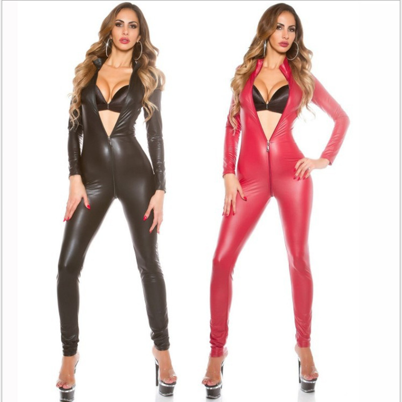 Rouge Latex body simili cuir Catsuit érotique combinaison WetLook Sexy Club pôle danse Costume jeu uniforme body combishort