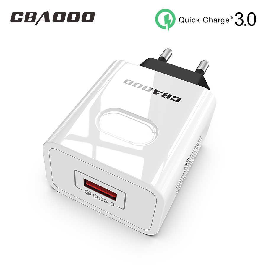 CBAOOO EU 18W Quick Charge 3.0 USB Charger QC3.0 โทรศัพท์มือถือ Fast Charger สำหรับ iPhone X Xiao mi mi 9 แท็บเล็ต iPad QC ชาร์จ