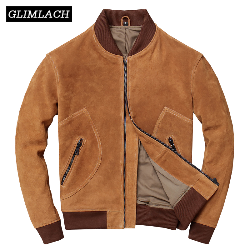 Brown Genuine Cow Suede Leather Aviator Jacket 2019 Autumn Cowhide Real Leather Vintage Flight Motorcycle Bomber Coat Plus Size