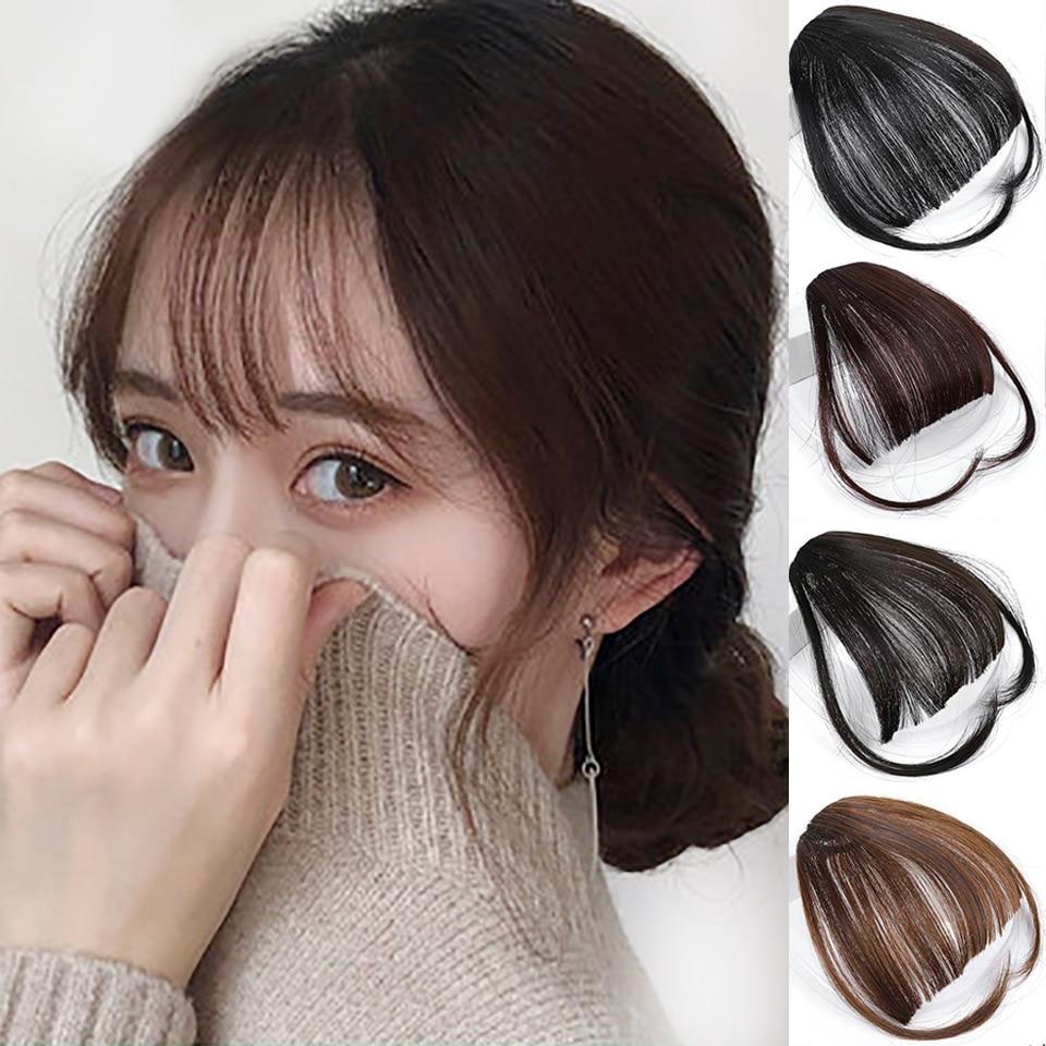 AOSIWIG Short Straight Bangs Synthetic Hairpieces Hair Women Natural Short Fake Hair Bangs Heat Resistant