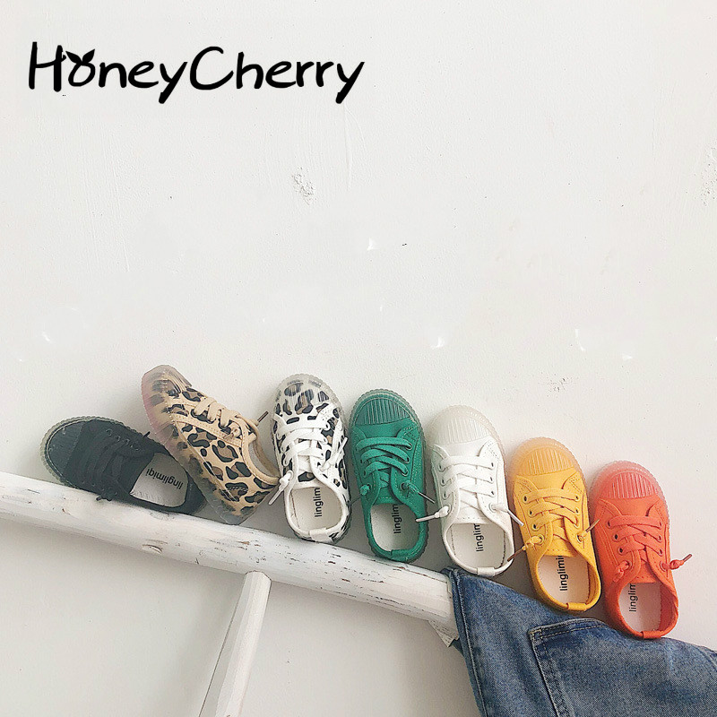 Candy Children's LeopardShoes 2020 New Girls'soft Bottom Shoes Boys' Sports And Leisure White Shoes Boys Shoes