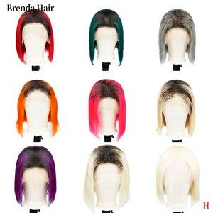 Ombre Bob koronki przodu peruk ludzkich włosów 13X6 wstępnie oskubane 150% gęstości blond niebieski czerwony szary zielony peruki z krótkim bobem dla czarnych kobiet
