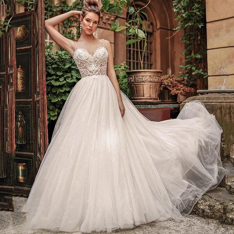 Eightree 2020 Beach Wedding Dress Boho Vestido De Novia Spaghetti Straps Wedding Gowns Long Appliques Wedding Dresses Backless