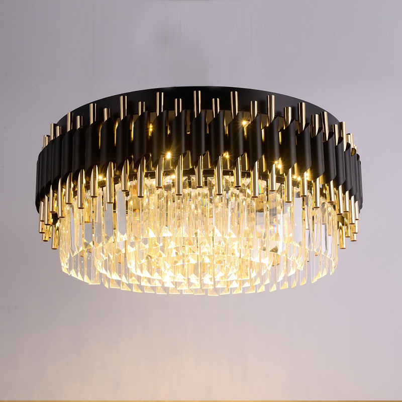 Modern Black Round K9 Crystal Stainless Steel Ceiling Light For Living Room Decorating Lighting Fixture