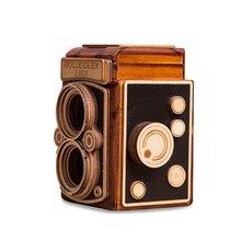 Музыкальная шкатулка из бука с ретро камерой ручным заводным