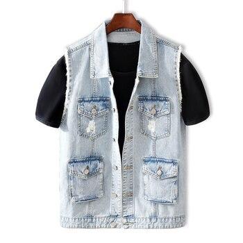 Fashion Streetwear Men Vest High Quality Multi Pockets Overalls Ripped Denim Coats Sleeveless Hip Hop Chaqueta Hombre