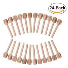 24Pcs/lot Mini Wooden Honey Dippers Sticks,Wood Spoon Coffee Milk Tea Stirring Jar Dispense Drizzle