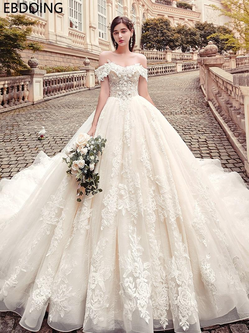 Luxurious Lace Ball Gown Wedding Dress Sweetheart Neckline Vestidos De Novia Long Newest Plus Size Wedding Gown Bride Dress