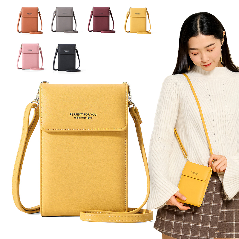 Luxury Cell Phone Pocket Mini Crossbody Shoulder Bags For Women Leather Purse Ladies Small Handbags Yellow Female Messenger Bag