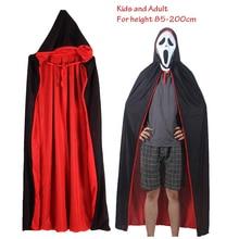 Halloween-Costume Cape Hooded Death Devil Black Witch Girl Vampire Kids Woman Adult Cloak