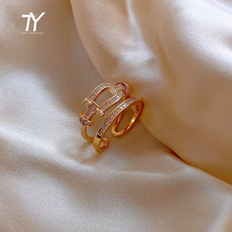 2020 nova moda coreano temperamento duplo anel de abertura para a mulher luxo festa dedo jóias simples índice da menina anéis incomuns