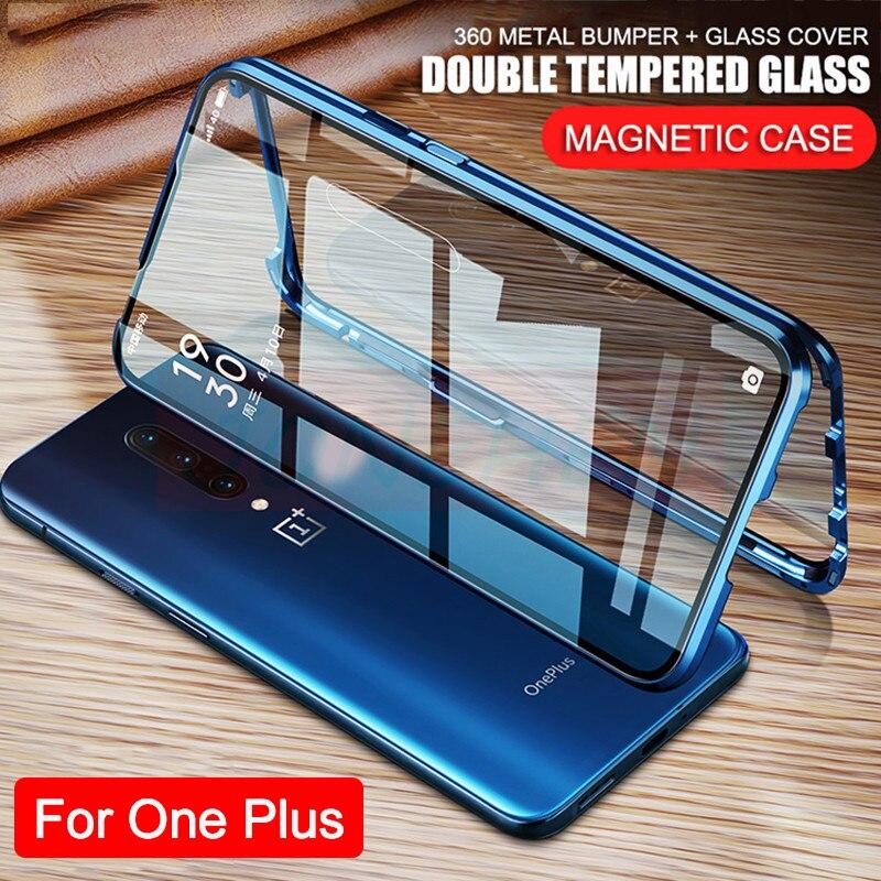 360 Полностью Защитный магнитный металлический бампер двусторонний чехол из закаленного стекла для Oneplus 7 8 Pro One Plus Nord