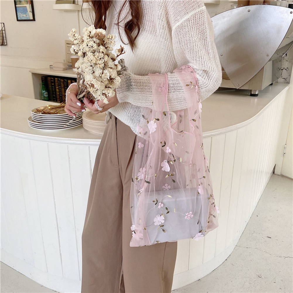 Women Organza Totes Bag Flower Embroidery Handbags For Female Girls 2020 New Mesh Sweet Shopping Traveling Bags Purses INS Style