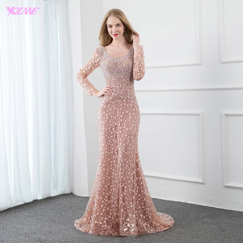 YQLNNE Dusty Pink Lace Embroidered Long   Evening     Dress   Full Sleeve Pearls Crystals Mermaid Formal Women   Evening   Gowns
