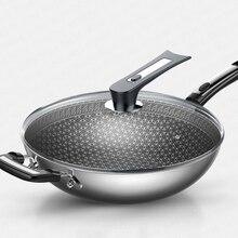 304 нержавеющая сталь ВОК антипригарная сковорода без дыма многофункциональная Бытовая кастрюля для индукционной плиты газовая для ВОК