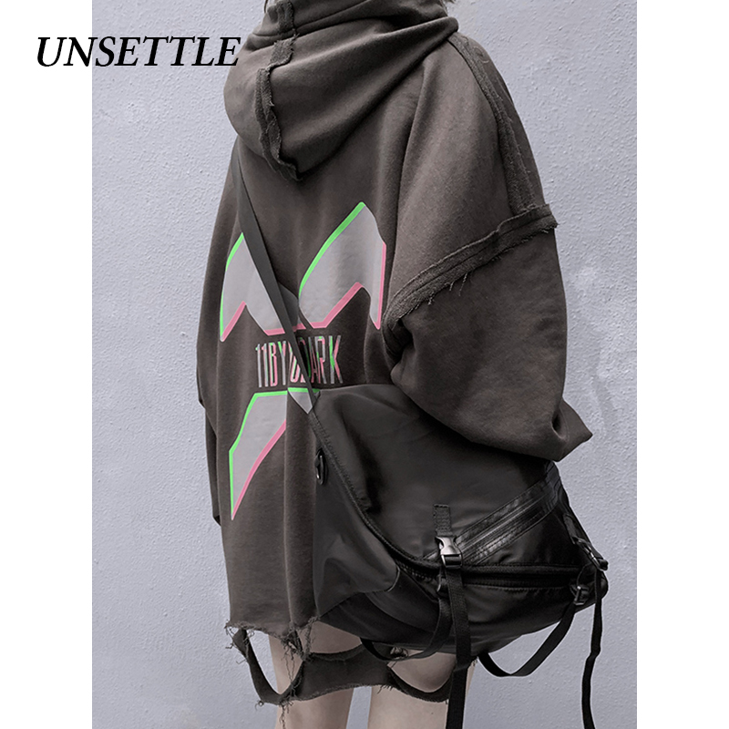UNSETTLE 2020SS Men/Women Japanese Streetwear Hoodies Hip Hop Tactical Hole Casual  Hooded Sweatshirts Harajuku Male Hoodie